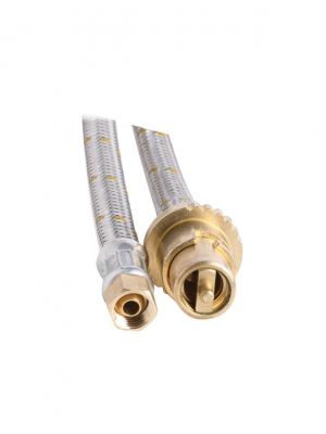 Bayonet Gas Hose - 10mm Stainless Steel - 3000mm