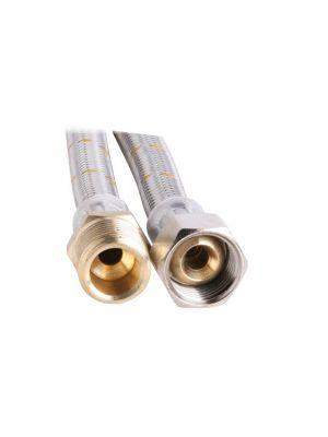 """10mm SS Gas Hose 1/2"""" BSP FC x 1/2"""" BSP M 1200mm"""