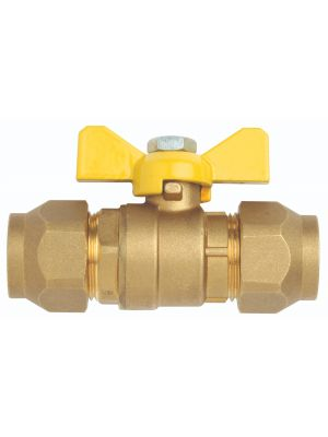 Ball Valve, Gas, Brass, Flared (incl nuts), Butterfly Handle,  Ni plate, 1/2'' SAE
