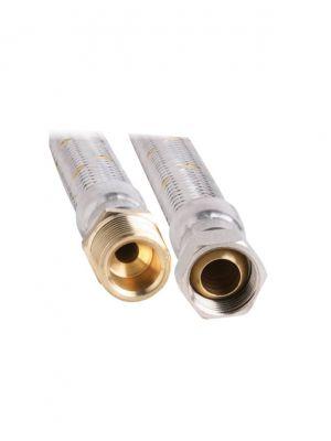 """19mm SS Gas Hose 3/4"""" BSP x 3/4"""" BSPMT 600mm"""